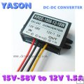 DC-DC power converter/DC(15V-58V) to DC12V 1.5A 18W